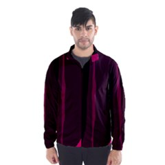 Pink and black lines Wind Breaker (Men)