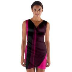 Pink and black lines Wrap Front Bodycon Dress
