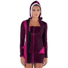 Pink and black lines Women s Long Sleeve Hooded T-shirt