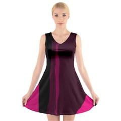 Pink and black lines V-Neck Sleeveless Skater Dress