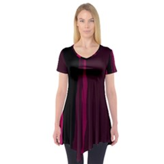 Pink and black lines Short Sleeve Tunic