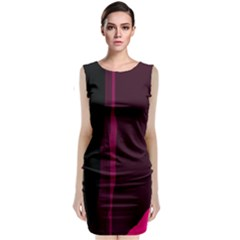 Pink and black lines Classic Sleeveless Midi Dress