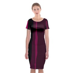 Pink and black lines Classic Short Sleeve Midi Dress