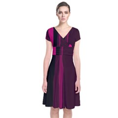 Pink and black lines Short Sleeve Front Wrap Dress