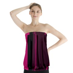 Pink and black lines Strapless Top