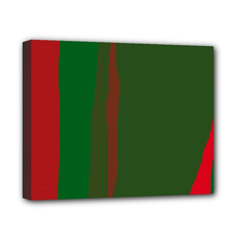 Green and red lines Canvas 10  x 8