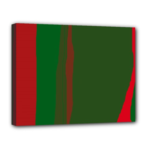 Green and red lines Canvas 14  x 11