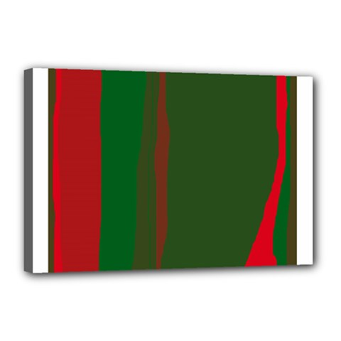 Green and red lines Canvas 18  x 12
