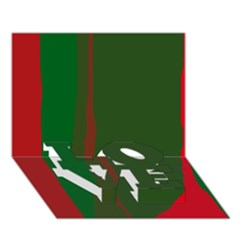 Green and red lines LOVE Bottom 3D Greeting Card (7x5)