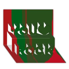 Green and red lines You Rock 3D Greeting Card (7x5)