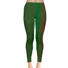 Green and red lines Leggings