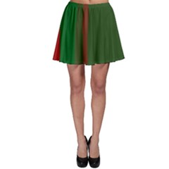 Green and red lines Skater Skirt
