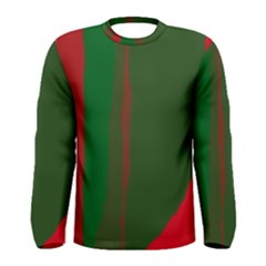 Green and red lines Men s Long Sleeve Tee