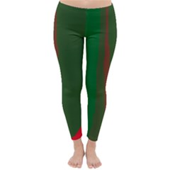 Green and red lines Winter Leggings