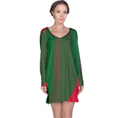 Green and red lines Long Sleeve Nightdress