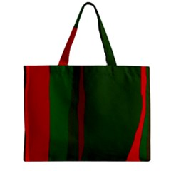 Green and red lines Zipper Mini Tote Bag