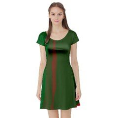 Green and red lines Short Sleeve Skater Dress