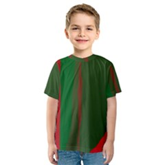Green and red lines Kid s Sport Mesh Tee