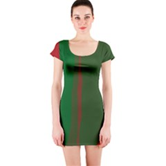Green and red lines Short Sleeve Bodycon Dress