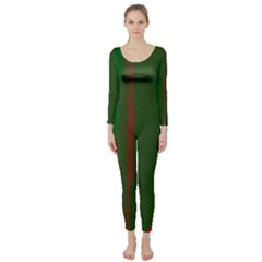 Green and red lines Long Sleeve Catsuit