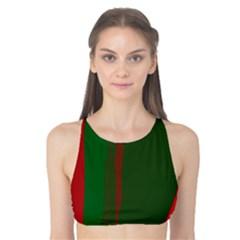 Green and red lines Tank Bikini Top