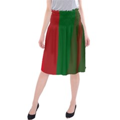 Green and red lines Midi Beach Skirt