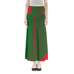 Green And Red Lines Maxi Skirts