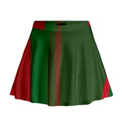 Green and red lines Mini Flare Skirt