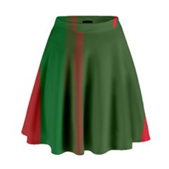 Green And Red Lines High Waist Skirt