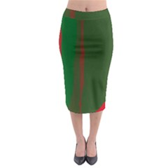 Green and red lines Midi Pencil Skirt