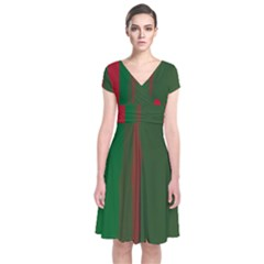 Green and red lines Short Sleeve Front Wrap Dress