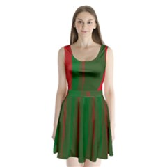 Green and red lines Split Back Mini Dress