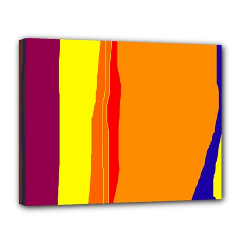 Hot colorful lines Canvas 14  x 11