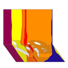 Hot colorful lines LOVE Bottom 3D Greeting Card (7x5)