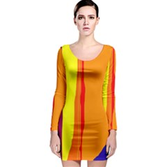 Hot colorful lines Long Sleeve Bodycon Dress