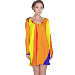 Hot colorful lines Long Sleeve Nightdress