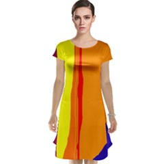 Hot colorful lines Cap Sleeve Nightdress