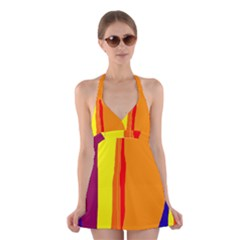 Hot colorful lines Halter Swimsuit Dress