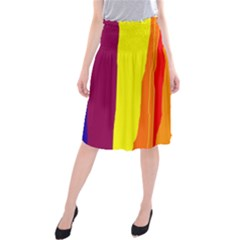 Hot colorful lines Midi Beach Skirt