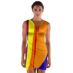 Hot colorful lines Wrap Front Bodycon Dress