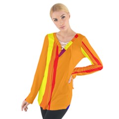 Hot Colorful Lines Women s Tie Up Tee