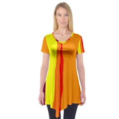 Hot colorful lines Short Sleeve Tunic