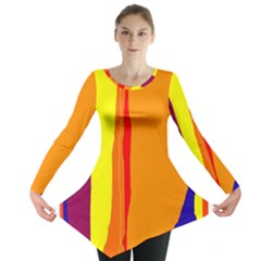 Hot Colorful Lines Long Sleeve Tunic