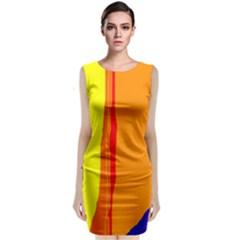 Hot Colorful Lines Classic Sleeveless Midi Dress