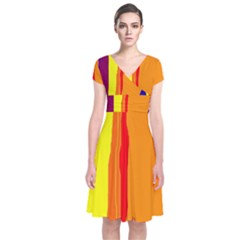 Hot colorful lines Short Sleeve Front Wrap Dress