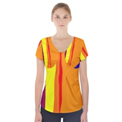 Hot colorful lines Short Sleeve Front Detail Top