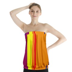Hot Colorful Lines Strapless Top