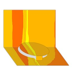 Yellow and orange lines Circle Bottom 3D Greeting Card (7x5)