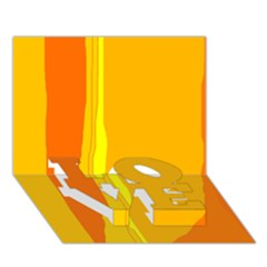 Yellow and orange lines LOVE Bottom 3D Greeting Card (7x5)