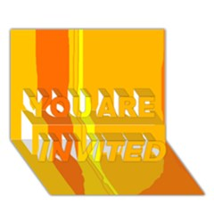 Yellow and orange lines YOU ARE INVITED 3D Greeting Card (7x5)